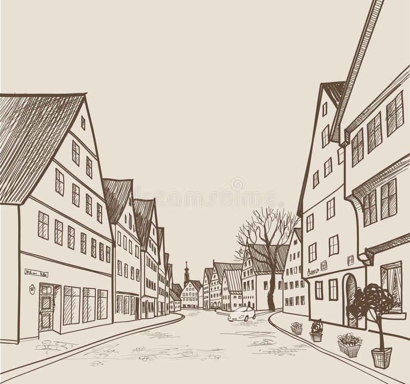 Street view in old european city. Retro cityscape - houses, buildings, tree on alleyway. Street cafe in old city. Cityscape - houses, buildings and tree on vector illustration