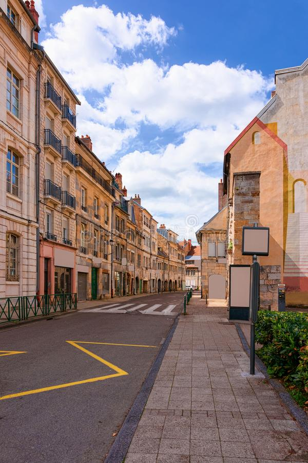 Street view with old houses at Citadel of Besancon stock image