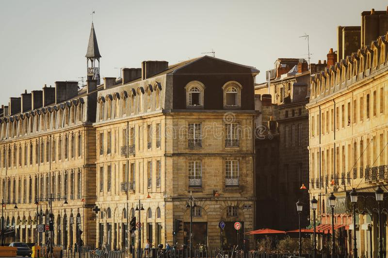Street view of old town in bordeaux stock photo