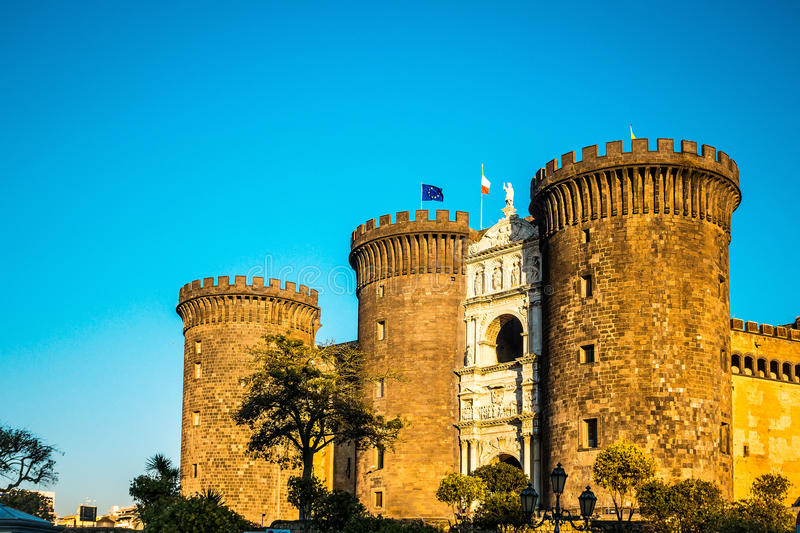 Street view of old town in Naples city stock photography