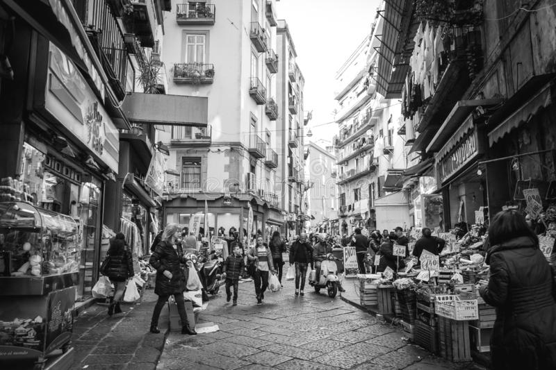 Street view of Old Town in Naples city, Italy. (Quartieri Spagnoli) stock images