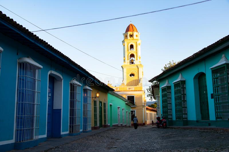 Street view of old town of Trinidad with colorful houses, Cuba stock images