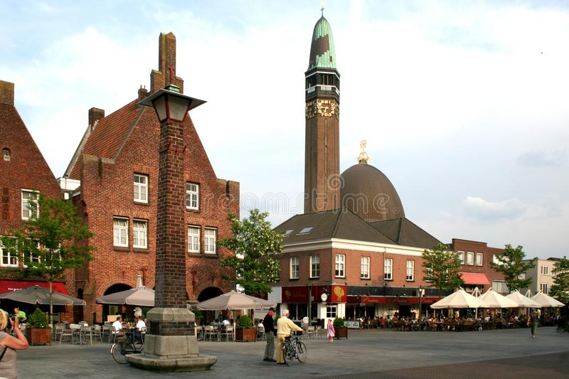 Street view over the centre of Waalwijk royalty free stock photos