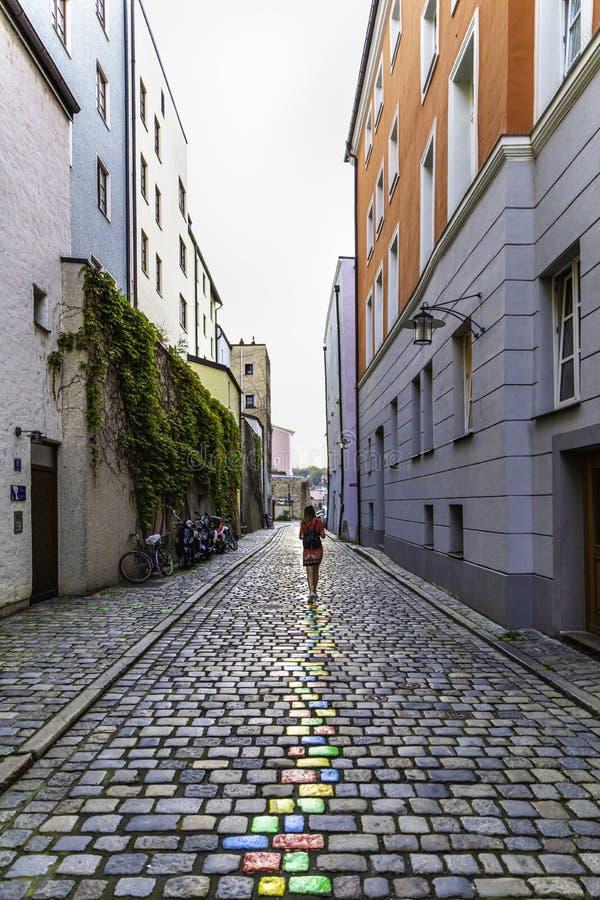 Street view in Passau, Bavaria, stock photo