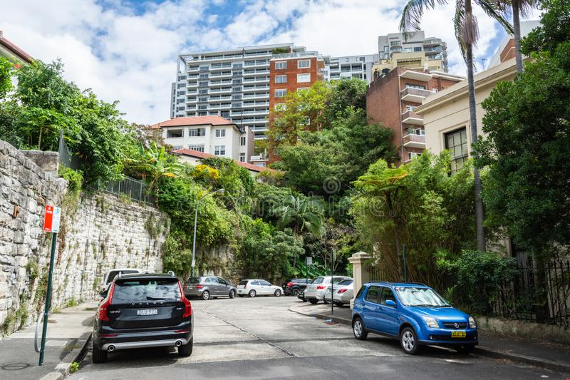 Street view in Potts Point, buurt van Sydney, Australië stock foto