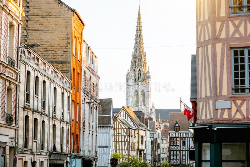 Street view in Rouen city, France stock images