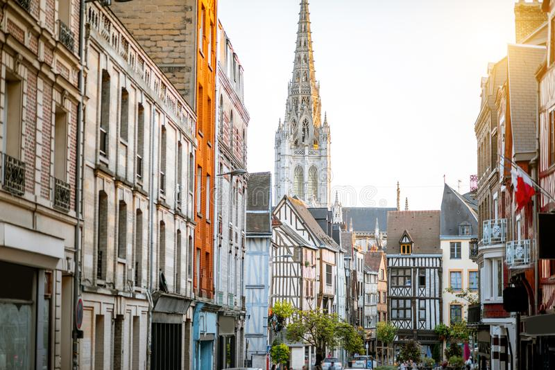 Street view in Rouen city, France stock photo