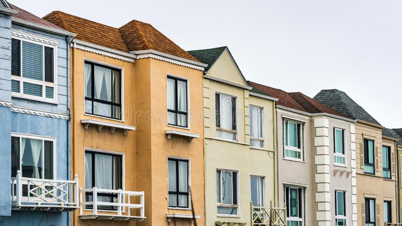 Street view of row of houses in one of the San Francisco`s residential neighborhoods, California royalty free stock photography