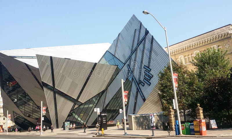 Street view on Royal Ontario Museum in summer stock images