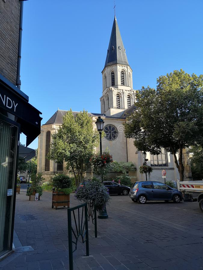 Street view of Rueil Malmaison city. In France royalty free stock photo