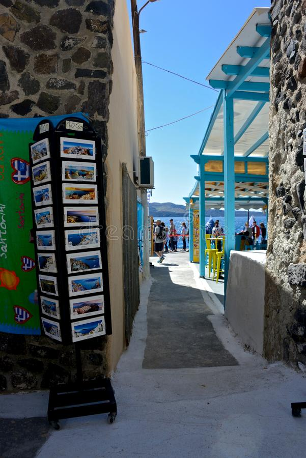 street view of Santorini restaurant and shop with postcard displayed stock photos