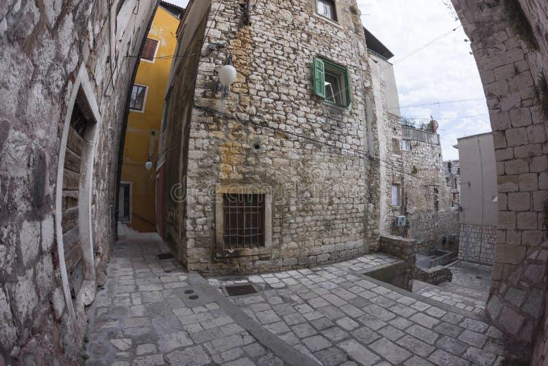 Street view of Sibenik in Croatia stock image