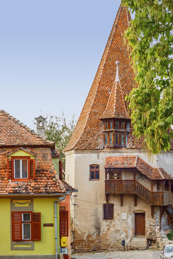 Street view of Sighisoara with colorful little houses. Transylvania, Romania royalty free stock photography