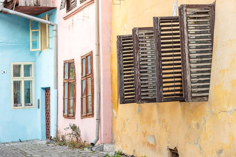 Street view of Sighisoara with colorful little houses. Transylvania, Romania stock photo