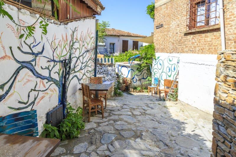 Street view of Sirince village in Izmir providence, Turkey stock photos