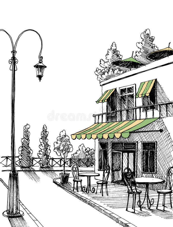 Street view sketch. Street view of a retro city restaurant terrace, sketch royalty free illustration