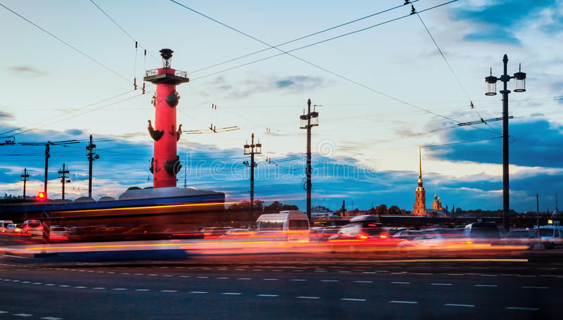 A street view of St. Petersburg during the white nights on a lon. G exposure, Russia royalty free stock photo