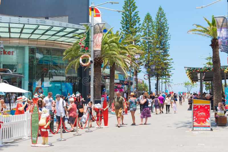 Street view at Surfers Paradise, Australia. Surfers Paradise, Queensland, Australia-December 23, 2017: Street view at Surfers Paradise, the Gold Coast`s royalty free stock image