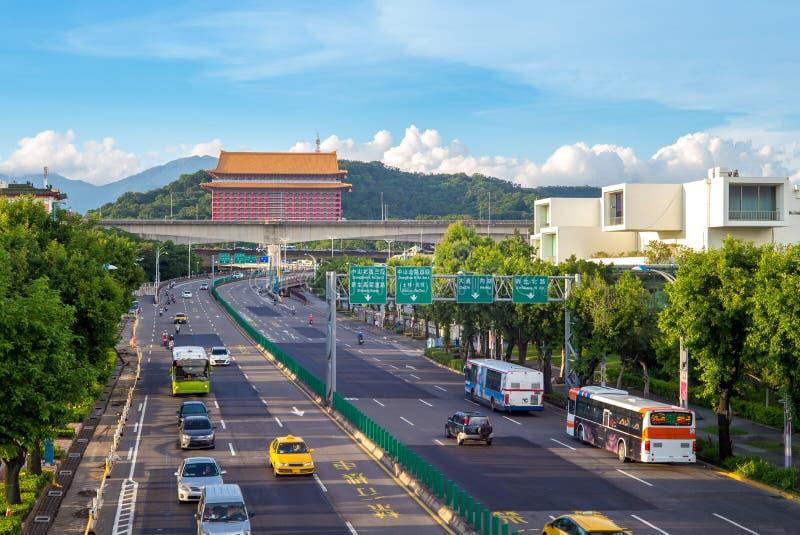 Street view of taipei city stock photos
