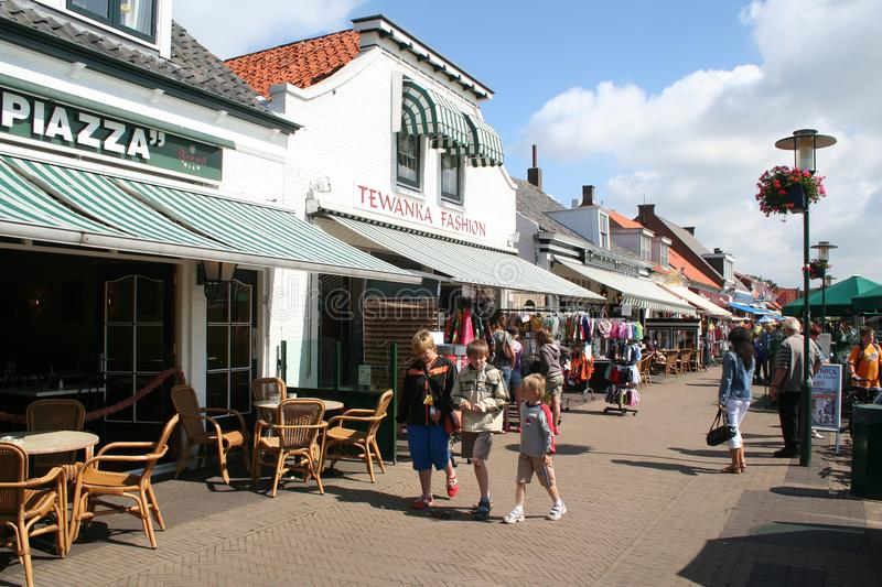 street view and terrace in Renesse stock photography