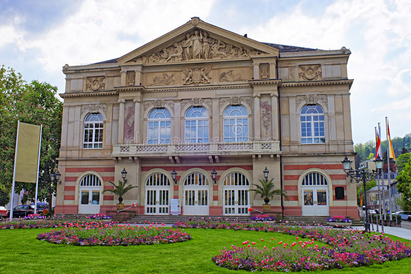 Street view to Baden-Baden Theater. Baden-Baden is a spa town. It is situated in Baden-Wurttemberg in Germany. Theater is a Belle Epoch exterior stock images