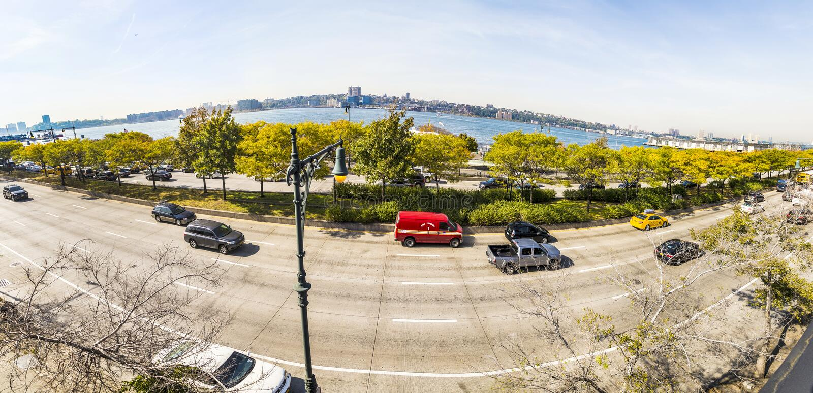 street view to 12th avenue and river Hudson river in the neighborhood Midtown in New York stock image