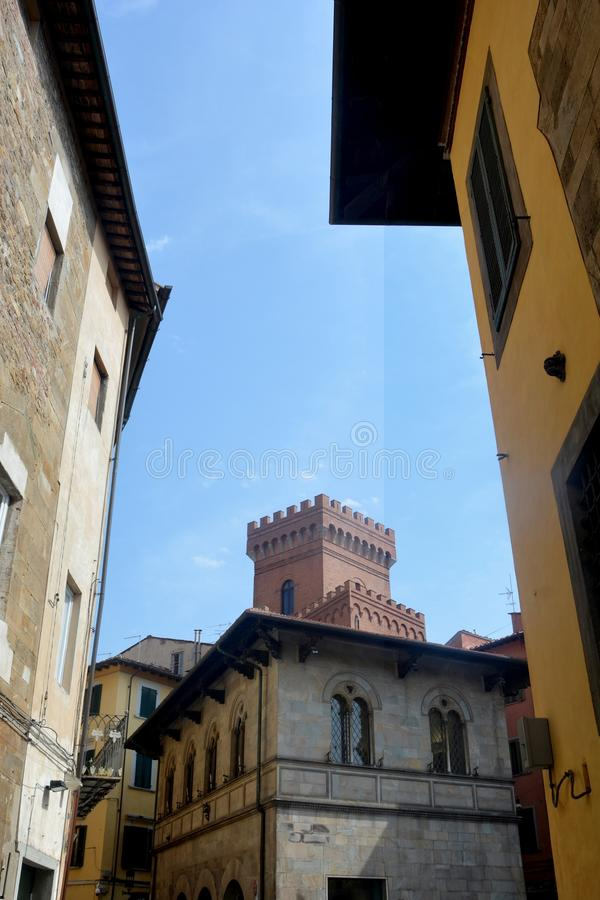 Street view with tower of Old Town Pisa , Italy. Street view with tower of Old Town Pisa Tuscany, Italy stock images