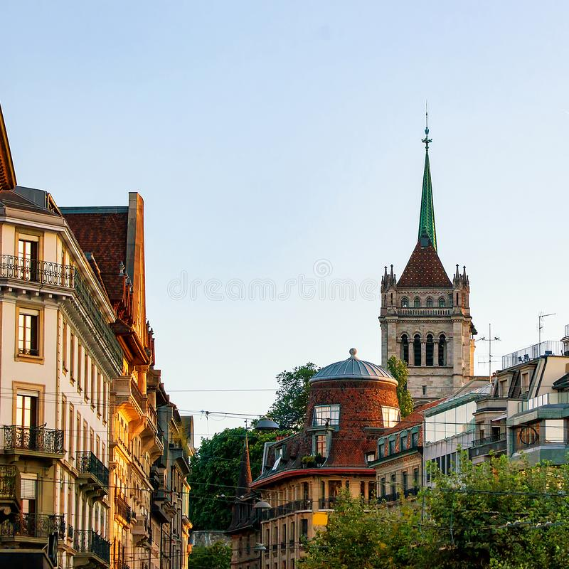 Street and Tower of St Pierre Cathedral in Geneva Switzerland royalty free stock photo