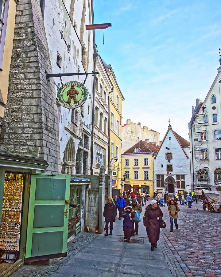 Street view of the Town Hall square near Hopner beer restaurant royalty free stock image