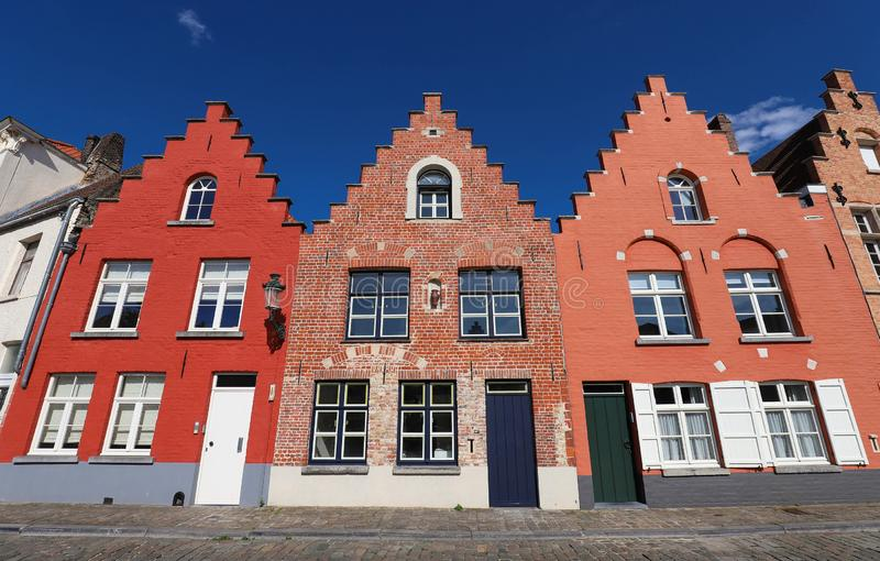 Street view with traditional medieval houses in Bruges , Belgium stock photography