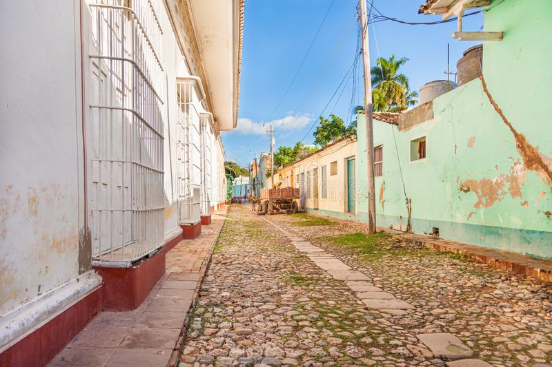 Street view of Trinidad town in Cuba royalty free stock image