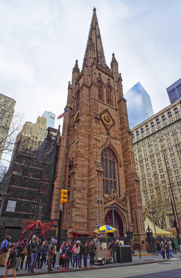 Street view of Trinity Church of Lower Manhattan stock photos