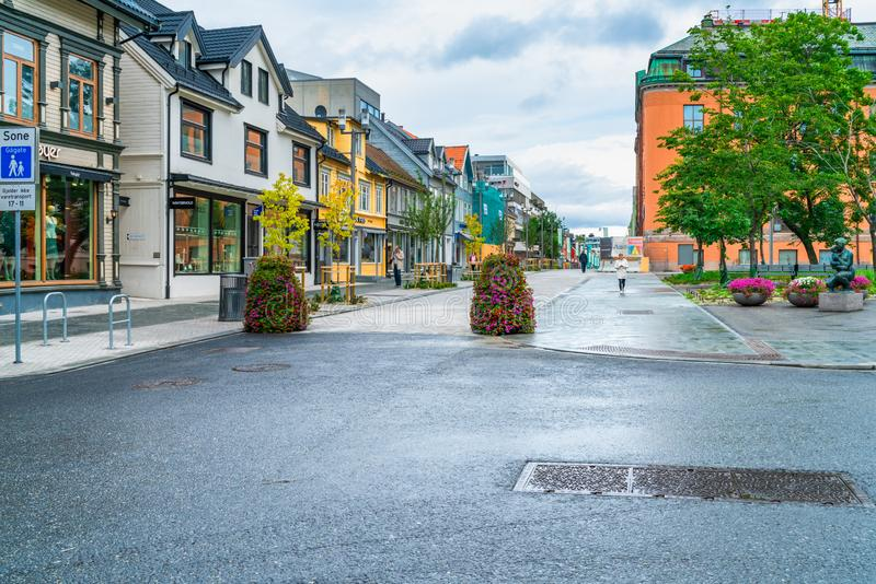 Street view of Tromso, Norway royalty free stock images