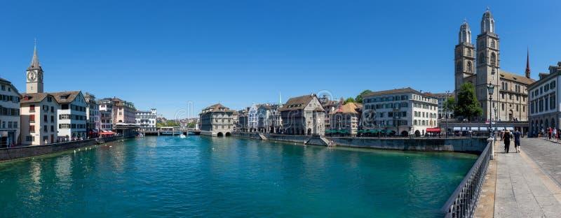 Street View van Zürich Van de binnenstad, Zwitserland stock foto's