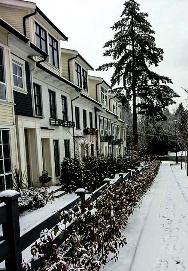 Street View w zimie z śniegiem fotografia stock