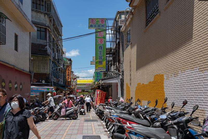 Street view of the Wanhua District nearby the famous Lungshan Temple in Taipei, Taiwan royalty free stock photos