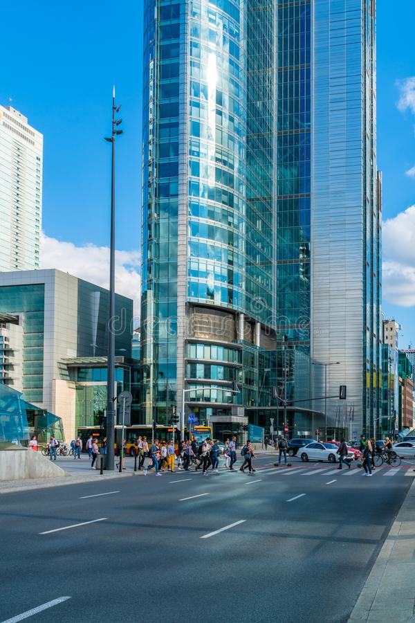 Street view in Warsaw, Poland royalty free stock photo