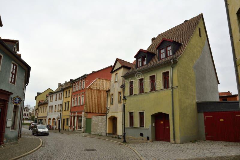 Street view on Wenzelsstrasse in Naumburg stock photos