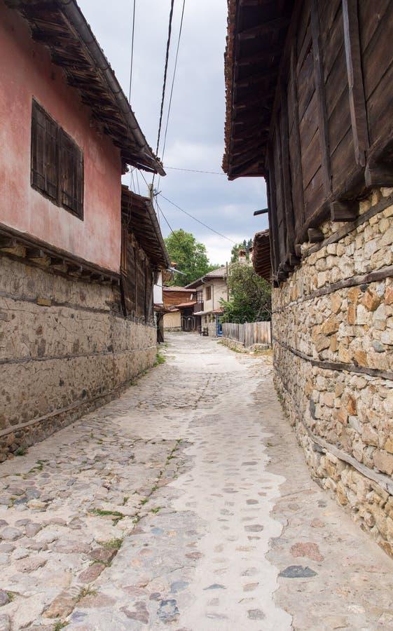 Street in the village Koprivshtitsa of Balkan stock photography
