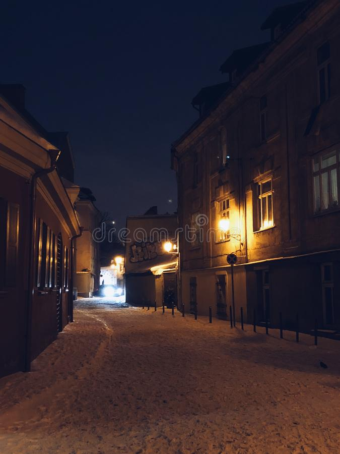 Old town winter romance royalty free stock photo