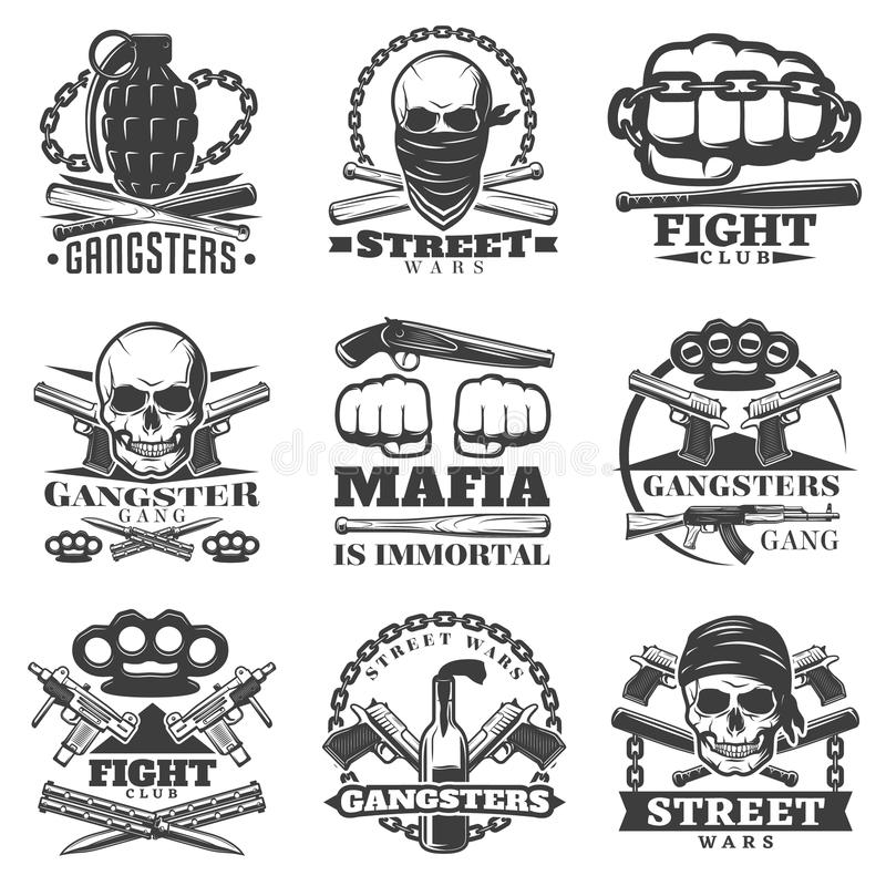 Street Wars Gangster Emblem Set Stock Vector Illustration Of