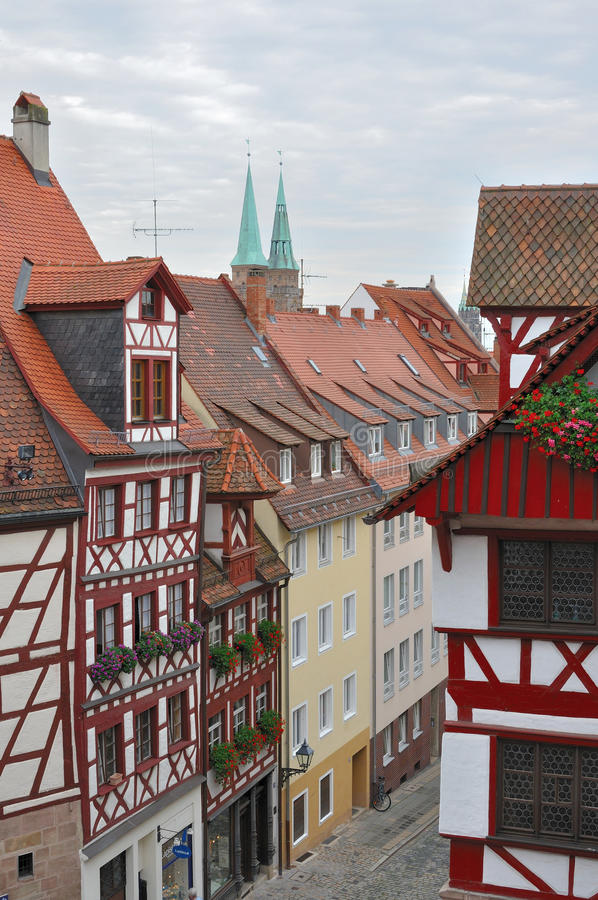 Street and wattle houses , nurnberg. View of a street with old wattle houses in city center royalty free stock photos