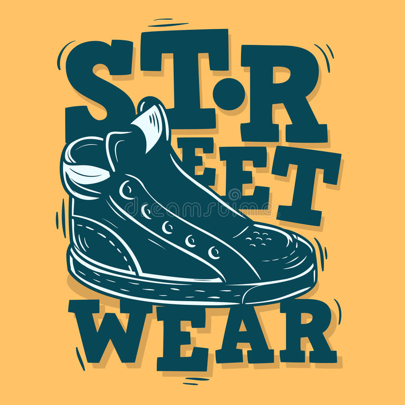 Street Wear Label Design With A Sneaker Illustration. Vector Gra royalty free illustration