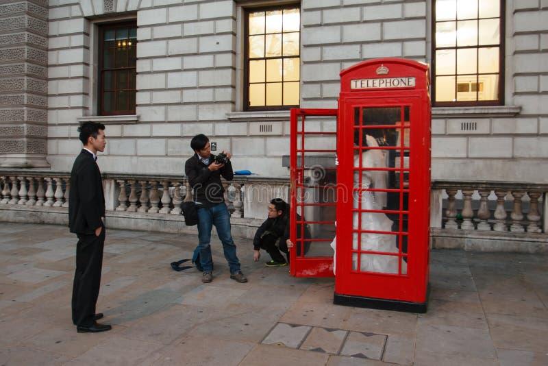 Street wedding session. Wedding session on the street of London, England royalty free stock photo