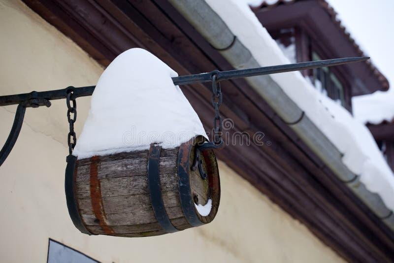 Street wine keg stock photo
