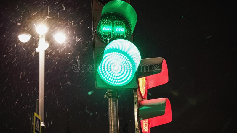 Winter evening cold outside road traffic light royalty free stock photography