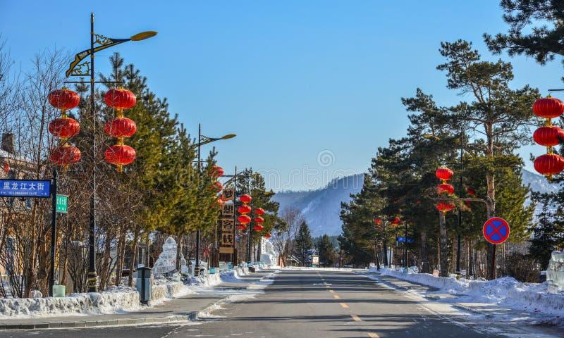 Street at winter in Harbin, China royalty free stock photo