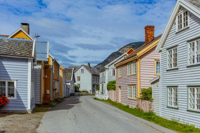 Street with wooden houses, Norway. architecture background old buildings stock photos