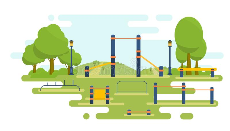 Street workout place for fitness and strength training. City sport park. Element and equipment for urban outdoor. Training. Sport background stock illustration