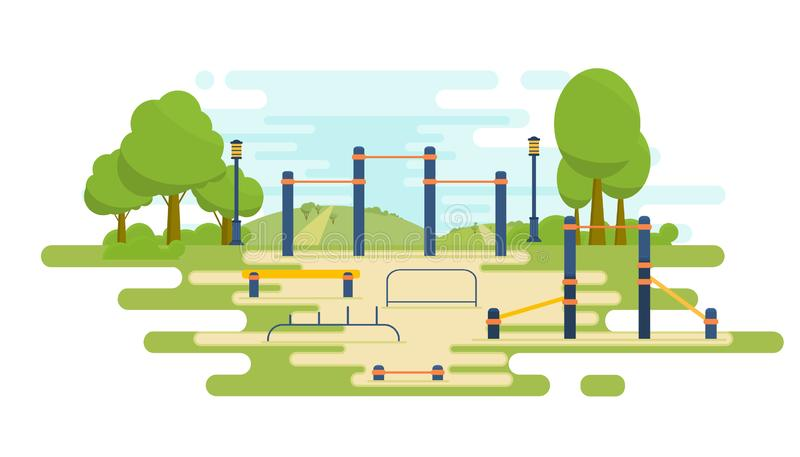 Street workout place for fitness and strength training. City sport park. Element and equipment for urban outdoor. Training royalty free illustration